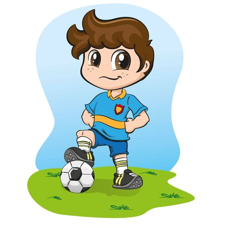 Illustration caucasian boy soccer player with uniform. Ideal for sports and institutional supplies