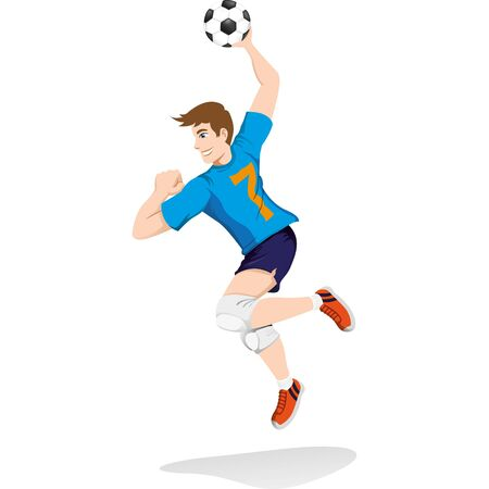 Illustration represents a person playing handball, tchoukball, jumping to attack. Ideal for educational, sports and institutional materials Stock Illustratie