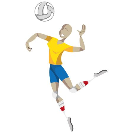 Illustration represents a person playing volleyball, jumping to take a cut. Ideal for educational, sports and institutional materials