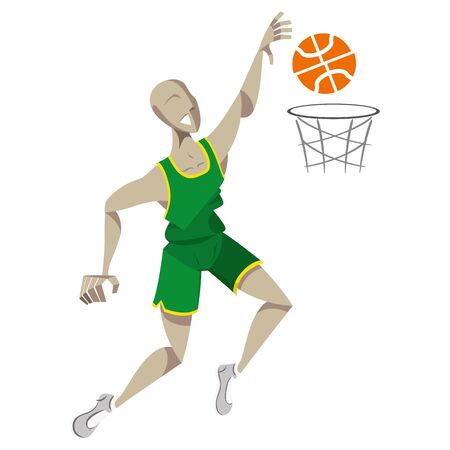 Illustration represents basketball player doing a sixth. Ideal for educational, sports and historical materials Vettoriali