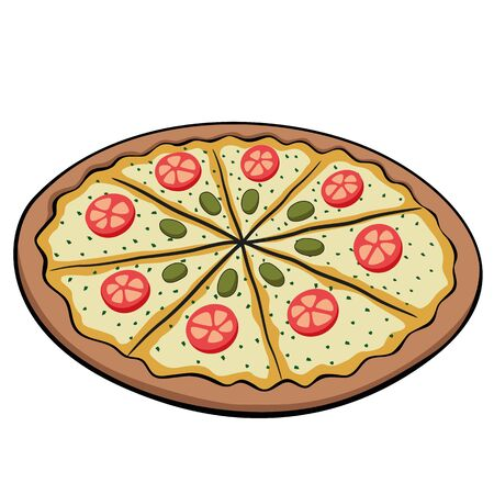 Pizza food illustration of mozzarella, cheese, salami. Ideal for catalogs, newsletters and institutional food material
