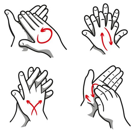 Illustration of a person washing hands in four steps, nail, palm, between the fingers and the top. Ideal for institutional and educational materials