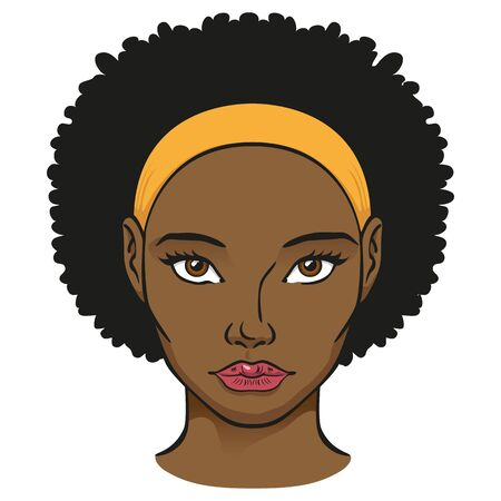Illustration of a black woman human head. Ideal for catalogs, newsletters and beauty and institutional guides