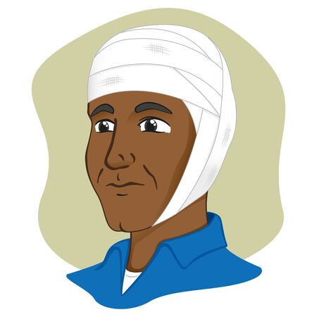 Illustration of a human head with bandages, afro descendant. Ideal for catalogs, information and first aid guides
