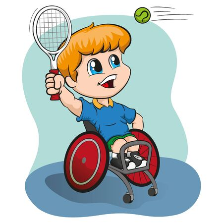 Illustration represents blond boy in a wheelchair playing tennis, Paralympic wheelchair sport, games. Ideal for sports and institutional materials