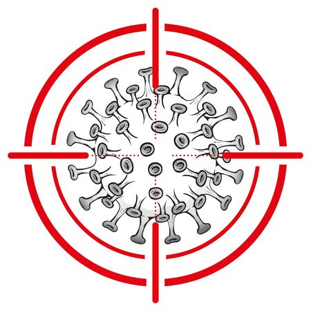 Illustration cartoon with crosshairs over coronavirus a microorganism, COVID-19, H1N1, disinfection, sterilization or sanitization. Ideal for educational and institutional material