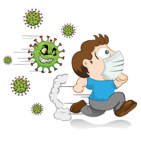 Cartoon Yuyu person with mask running scared of a virus corona. Ideal for educational and institutional matters