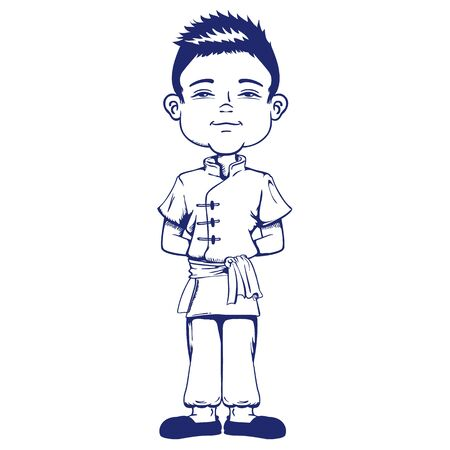 Boy with features, Asian child, Chinese, Asia, art line. Ideal for educational and institutional materials Ilustração