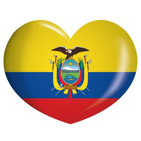 Icon representing a heart with the flag of Ecuador. Ideal for catalogs of institutional materials and geography
