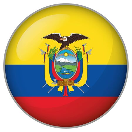 Icon representing a round button flag of Ecuador. Ideal for catalogs of institutional materials and geography
