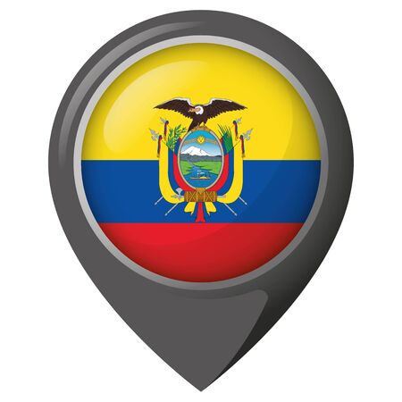 Icon representing a location pin with the flag of Ecuador. Ideal for catalogs of institutional materials and geography Ilustração