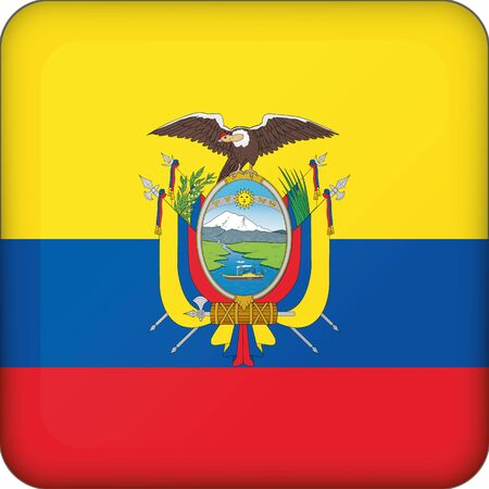 Icon representing square button flag of Ecuador. Ideal for catalogs of institutional materials and geography