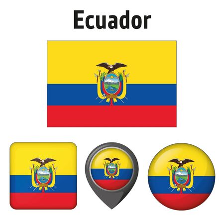 Illustration of the flag of Ecuador, and various icons. Ideal for catalogs of institutional materials and geography