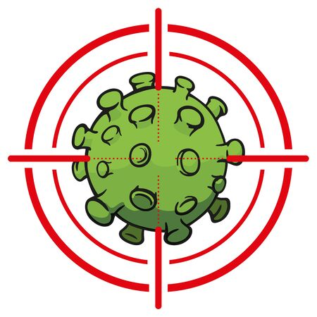Illustration cartoon with crosshairs over corona virus a microorganism, COVID-19, H1N1, disinfection, sterilization or sanitization. Ideal for educational and institutional material Ilustração