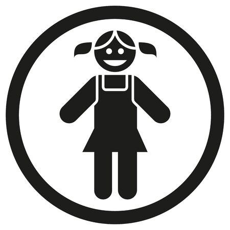 Child girl gender pictogram icon. Ideal for catalogs, newsletters and institutional material Ilustração