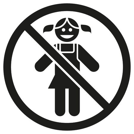 Child girl gender prohibited pictogram icon. Ideal for catalogs, newsletters and institutional material
