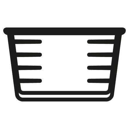 Pictogram icon packaging measuring cup for cosmetic, medicine, supplement and vitamins. Ideal for catalogs, newsletters and packaging catalogs Ilustração