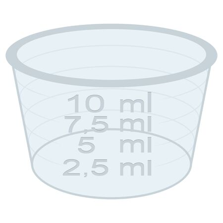 Perspective dosage cup packaging object illustration for cosmetic, medicine, supplement and vitamins. Ideal for catalogs, newsletters and packaging catalogs