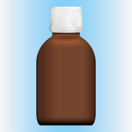 Illustration object item cosmetic or medicine bottle, amber, frontal. Ideal for product catalogs and cosmetic hygiene and medication information
