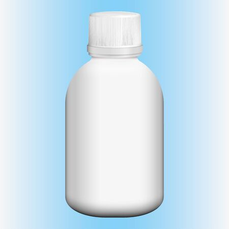 Cosmetic or medicine bottle item object illustration, white, perspective. Ideal for product catalogs and cosmetic hygiene and medication information Ilustração