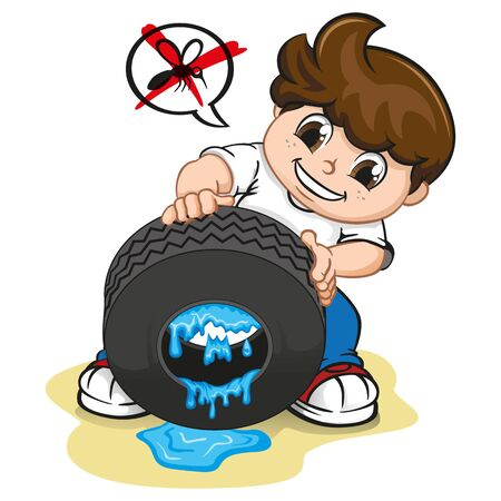 Illustration boy drawing still water from the tire, fighting mosquito that transmits dengue or zika virus. Ideal for informational and institutional related sanitation and health Ilustração