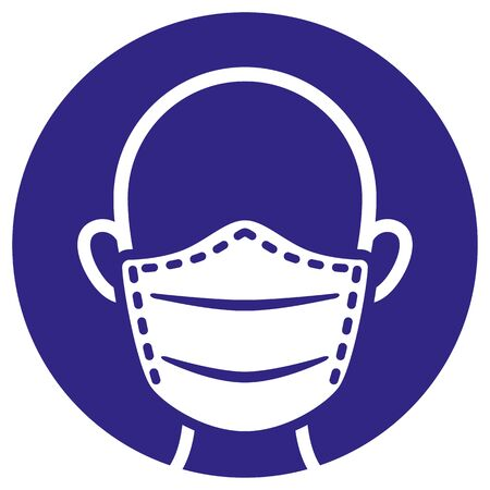Illustration Icon and symbol of protection mask, safety equipment. Ideal for infographics and institutional materials