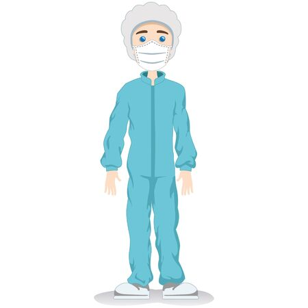 Caucasian male mascot, safety equipment against contamination. Ideal for educational and informative medical materials