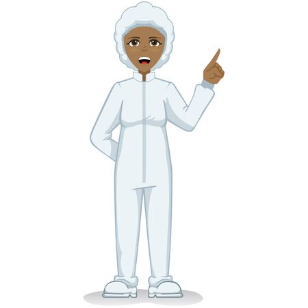 Afro-descendant female mascot, safety equipment against contamination. Ideal for educational and informative medical materials