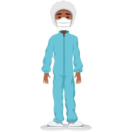 Male African descent mascot, safety equipment against contamination. Ideal for educational and informative medical materials Ilustração