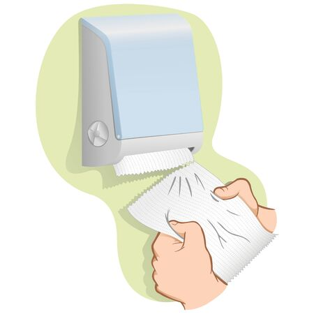 Illustration of person taking paper towel or napkin from container, Caucasian. Ideal for institutional materials and catalogs