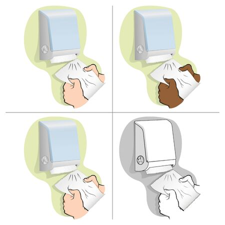 Illustration of a person taking a paper towel or napkin from a container, ethnicities. Ideal for institutional materials and catalogs Ilustração
