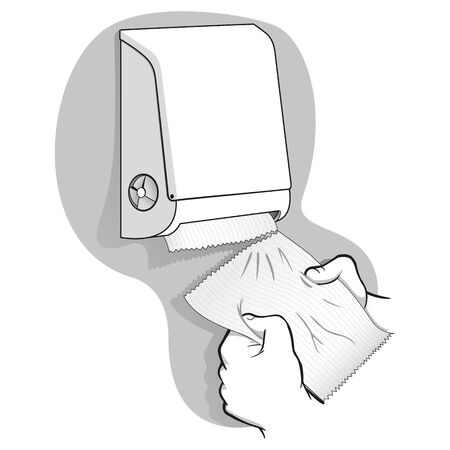 Illustration of a person taking a paper towel or napkin from a container, art line. Ideal for institutional materials and catalogs Ilustração