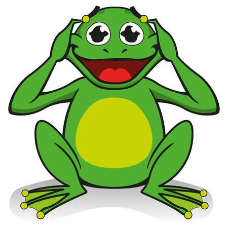 Illustration of a frog sitting with hands on his head, surprised, desperate. Ideal for educational and cultural materials