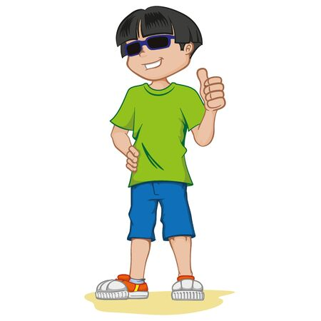 Visually impaired boy person, with dark glasses. Ideal for catalogs, health and institutional newsletters