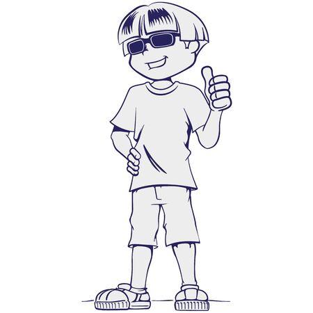 Art line Visually impaired boy person, with dark glasses. Ideal for catalogs, health and institutional newsletters