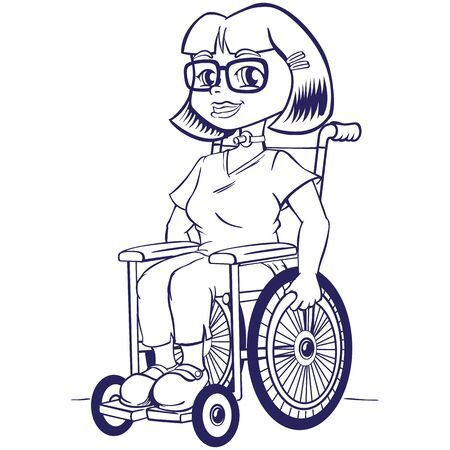 Person Physically disabled girl in a wheelchair with tracheostomy tube, artline. Ideal for catalogs, health and institutional newsletters