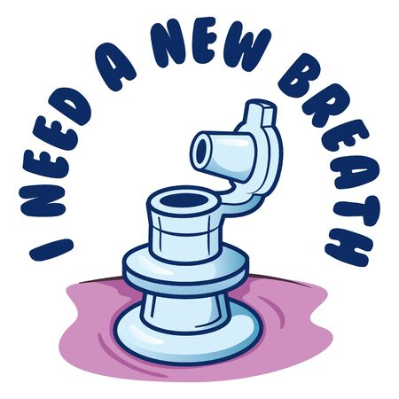 Message I Need New Breath, air valve inflatable object to object. Ideal for informational and institutional materials Ilustração