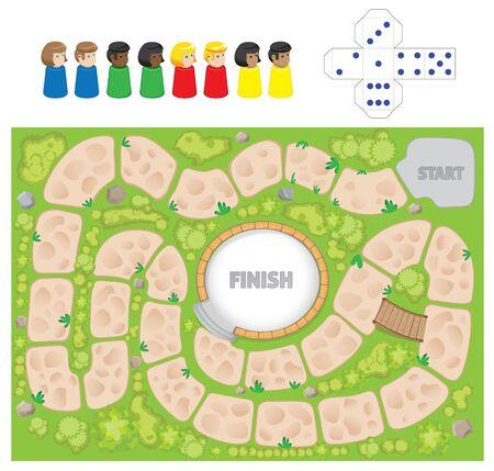 La ilustración representa un juego de mesa, con elementos para montar para jugar. Ideal para pasatiempos y diversión.