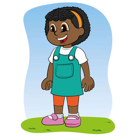 Illustration child girl afro descendant smiling and happy. Ideal for catalogs, newsletters and institutional materials