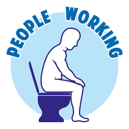Satirical message, person working, but sitting on a toilet in the bathroom pushing hard