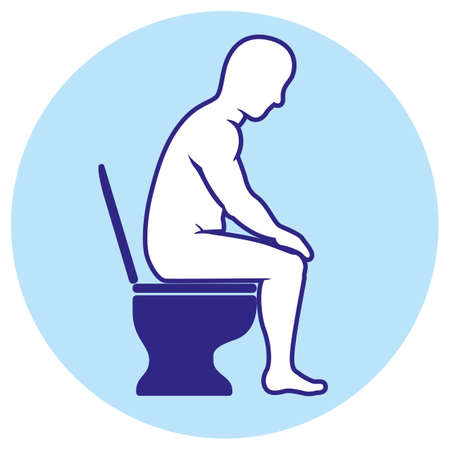 Person with diarrhea or bellyache, using the toilet. Ideal for informative and institutional related to symptom
