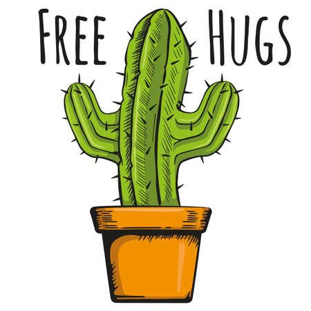 Illustration vase with a cactus with phrase hug free. Ideal for botanical and gardening materials Ilustração