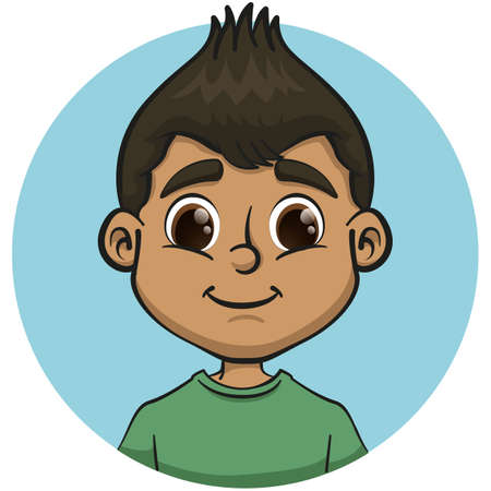 Illustration representing black haired brunette boy color. Ideal for catalogs, newsletters and institutional materials