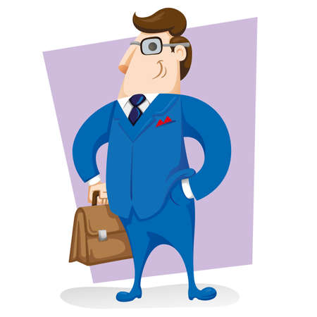 Illustration of an executive character with blue suit and workbook. Ideal for training materials and presentations Ilustração