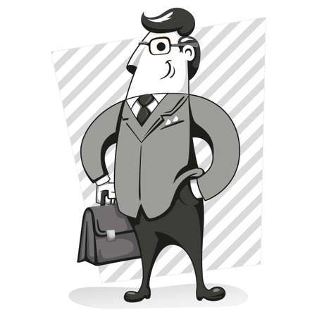 Illustration of an executive character with suit and workbook, black and white. Ideal for training materials and presentations Ilustração