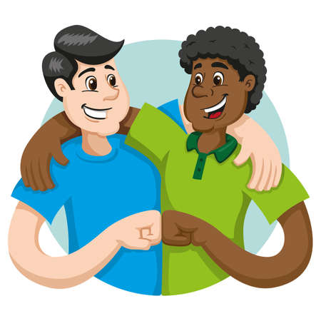 Illustration embrace of friends, friendship and interracial companionship. Against prejudice and segregation. Ideal for catalogs, newsletters and recycling guides