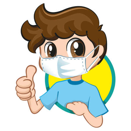Illustration depicting a student child wearing a mask due to respiratory problems. Ideal for medical, institutional and educational subjects