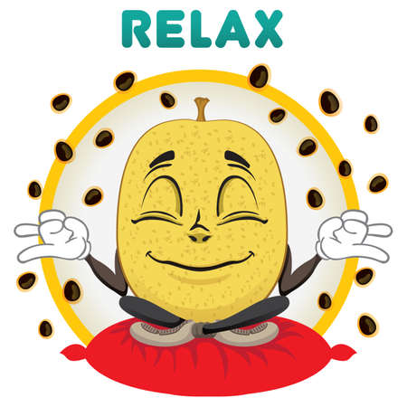 Mascot passion fruit meditating and relaxing. Ideal for children's and informative stories Ilustração