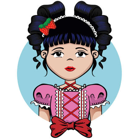 Girl with curly black hair and bow. Ideal for educational and institutional materials Ilustração