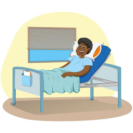 Mascot man of African descent bedridden in a hospital room. Ideal for informational and institutional related to medicine
